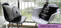 """BirdCage cushion pillow black  """"keep Calm Carry on """" Letter polyester Cushion Cover for home decor sofa cushions 2PCS/LOT"""