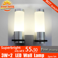 Wall Mounted 6W LED Wall Lamp,superbright,AC85-265V,CE&ROHS,Aluminum lamps,bedroom lamp,outdoor lamp,DHL Fast&Free shipping