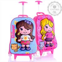 free shipping 3d child trolley luggage bag primary student trolley school bag hard shell eva travel trolley luggage