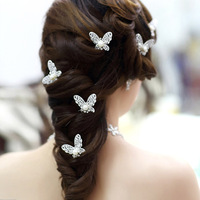 Freeshipping Nice White/Red  butterfly pearl rhinestone hair stick, flower hair accessory  bridal accessories 6pcs/lot