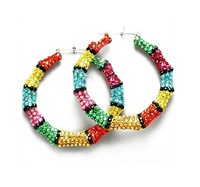 Basketball Wives Earring  Inspired Iced Out Bamboo Hoop Earring Multicolor Stones Free Shipping
