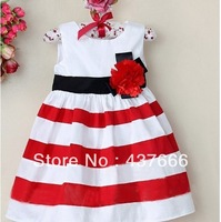 Retail Summer girls stripe dress flower princess dress Princess dress