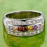 Free  Shipping 2013new style lemon & garnet and olivine gem silver ring
