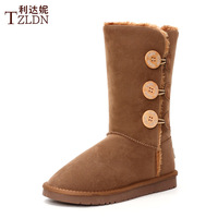 Thermal button box knee-high snow boots female boots warm shoes medium-leg