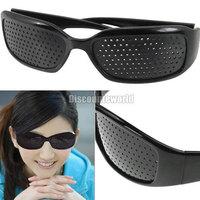 Cheap Black Unisex Vision Care Pin hole Eyeglasses pinhole Glasses Eye Exercise Eyesight Improve Plastic Natural Healing