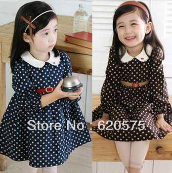 New 2013  Autumn-Summer Long Sleeve Dress For Girl girls' dresses for New Year and Christmas Free Shipping