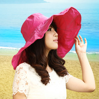 Hat women's summer sunbonnet female folding sun hat beach cap large outdoor sun hat