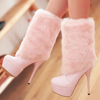 Snow boots fashion boots female medium-leg 13 new arrival winter ultra high thin heels boots fur boots sexy
