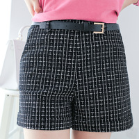 Free shipping 2013  women's casual all-match color block plaid hem roll-up mid waist slim shorts ak134