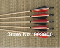 6 Pieces of traditional wooden arrow War-style Turkeys feather European style longbow