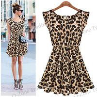 New Sleeveless Pleated Slim Leopard Tunic Dress   5630