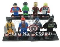 2013 NEW 8pcs Super Heroes Avengers Iron Man Hulk Batman Wolverine Thor plastic Building Block Sets ninja toys ninjago Chima toy