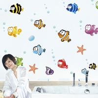 Bubble fish wall stickers child bath wall stickers housing sticker decoration stickers fish
