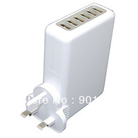 UK plug 6 Port USB Multi Wall USB Charger for IPAD iPhone HTC SAMSUNG S3 Plugs Freeshipping