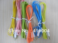 Colorful 3.5mm earphone jack Male to Male Aux Stereo Audio Flat Noodles Cable DHL Fast shipping ,500pcs/lot