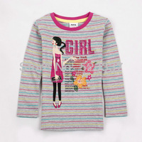 FREE SHIPPINGF3542#Gray 18m/6y 5pieces /lot 2013 striped and printed  cartoon spring autumn long sleeve T-shirt  for boy /girl