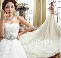 2015 new design Hot sale Fashoin wedding dress sweet angel of prospective princess bride wipes bosom drill trailing