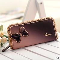 2013 bling diamond bow bag women's long zipper design sweet chain wallet