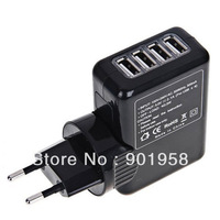 5V 2A Universal  EU Plug 4 USB Home Travel Wall AC Power Charger Adapter For ipad/ipod min Samsung Galaxy S4 S3  Freeshiping