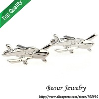 Silver Plane Military Cufflinks QT0150 - Free shipping
