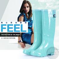 Fashion women's overstrung tianlan gaotong polka dot rainboots water shoes tall boots rubber rain shoes riding boots
