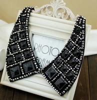 Vivi Magazine Square Black Crystal Shirt Chokers Necklace,False collar  Female gift