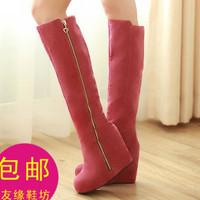 Autumn high-leg boots round toe wedges elevator zipper decoration winter boots fleece lined boots