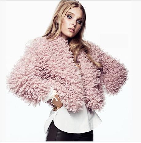 Fashion Women Warm Coat 2013 new pink faux fur jackets winter coats woman free shipping autumn clothes(China (Mainland))