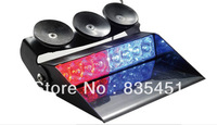 Free Shipping+Gen-3 LED 3W tubes+16 kinds of flash pattern+car LED Visor light+three powerful  suction discs