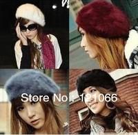 Free shipping Hot sale Fashion Autumn and winter thermal all-match rabbit fur hat Princess Hat le depart de Beret Women
