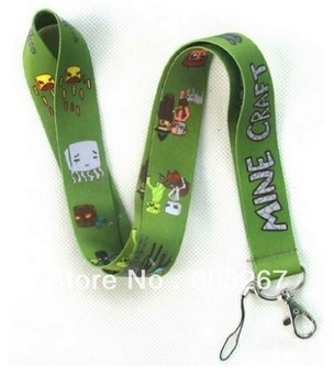 Wholesale - Hot New Popular 50pcs Game MineCraft Mobile Phone LANYARD Neck Strap Party Gift Free shipping