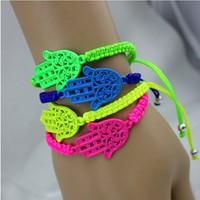 Min order $15 (Can Mix Item)  Neon Hamsa hand knitted  bracelet, hamsa charm bracelet ,lovely handmade knitted bracelet