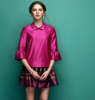 2013 New Fashion Vintage Women Elegant Noble Blouse+ Skirt Suit