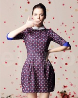 2013 New Fashion Women's dress autumn elegant slim half sleeve digital print dresses