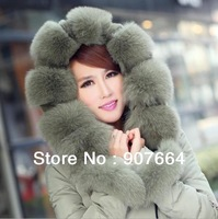 2013 New Fashion White Duck Down Fox Fur Autumn Winter Thickening Women Down Jacket Coat