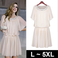 Vestido dresses new fashion 2013 chiffon vintage fake diamond ruffles dress  plus size party evening elegant Beige Black 4XL 5XL