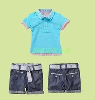 New for 2013 summer children's  clothing sets boys 2 pieces set blue short-sleeves t-shirt + shorts send belt