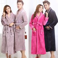 Thickening coral fleece robe female lovers flannel robe male bathrobe autumn and winter coral fleece sleepwear female plus size