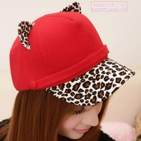 Autumn and winter leopard print baseball cap fashion cat ear hat little demon of general