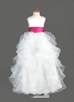 A-Line/Princess Scoop Neck Floor-Length Organza Satin Flower Girl Dress With Sash HWGJFGD23