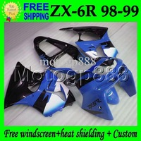 For KAWASAKI  NINJA ZX6R ZX-6R 636 Blue white black 98 99 1998 1999 MP#657 body ZX 6R  blue black ZX636 Full Fairings