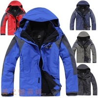 In Stock Free Ship NEW 2013 Brand  Outdoor Climbing Fashion Two-piece Men Sports Coat Winter Waterproof Men's Skiing Jackets