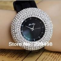 10 pcs/lot Silicone Luxury Fashionwomen rhinestone watches  Dress Quartz Wristwatch Wrist Watch Black FREE SHIPPING