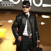 New arrival 2013 leather clothing male genuine leather clothing medium-long stand collar slim leather trench