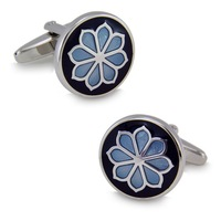 SPARTA High quality metal + White Steel plated Enamel eight leaves flower cufflinks men's Cuff Links + Free Shipping !!!