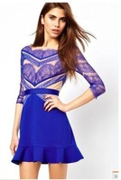 High quality 2014 new runway spring and summer fashion blue eyelash lace lotus leaf ruffles plus size one-piece dress S,M,L