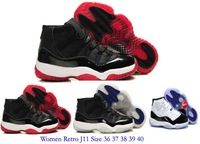 Free Shipping Women J11 Basketball shoes for sale 2013 JD Cheap J 11 XI retroes red black while blue concordants 36-40