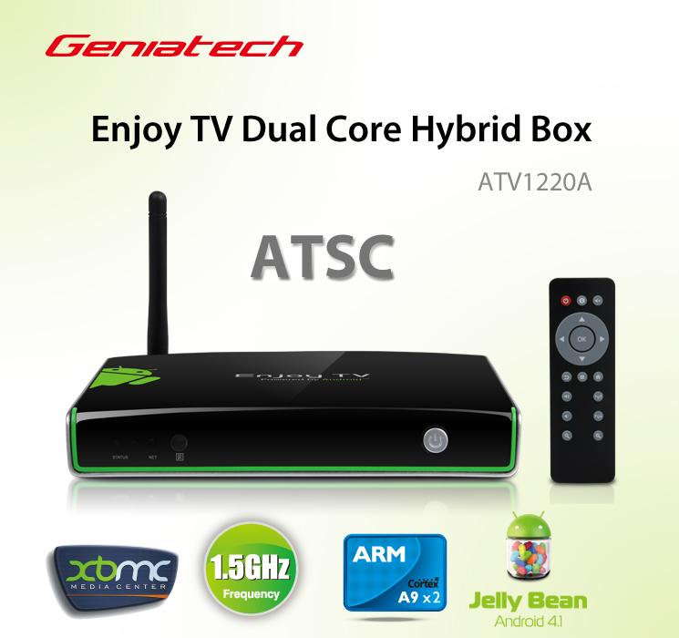 pre-sale Geniatech ATV1220 TV Box Built-in ATSC digital TV Tuner receiver Dual Core Hybrid Android 4.1 Google tv 1080P XBMC(China (Mainland))