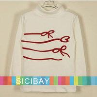 Girls Cute Bowknot Pattern Tshirts Autumn Fashion Kids Wear,Baby Clothing Turtleneck,Free Shipping  K0864