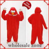 New Adult Red Cookie Monster winter hooded Pajamas Elmo Sleepsuit Sleepwear Pyjamas,Halloween/Christmas Cosplay Costume
